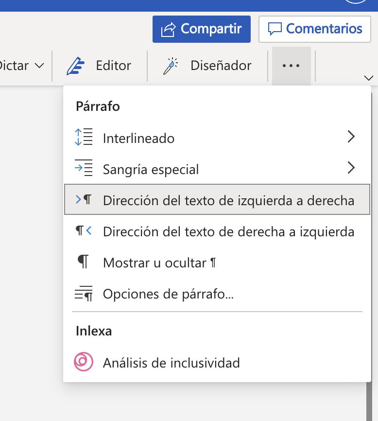 Complemento de Inlexa instalado en Microsoft Word Online
