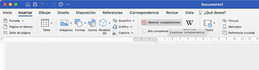 Captura de pantalla de la opción de «obtener complemento» en la versión de escritorio de Microsoft Word
